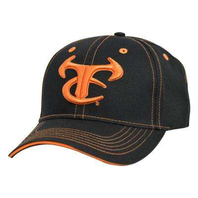 Men's Adjustable Black Baseball Cap with, Orange