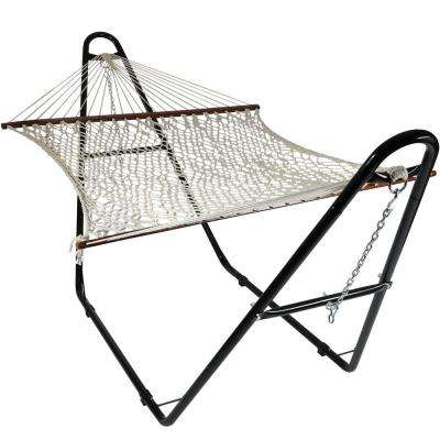 11 ft. Free Standing 2-Person Double Wide Cotton Rope Spreader Bar Hammock Bed with Universal Steel Hammock Stand