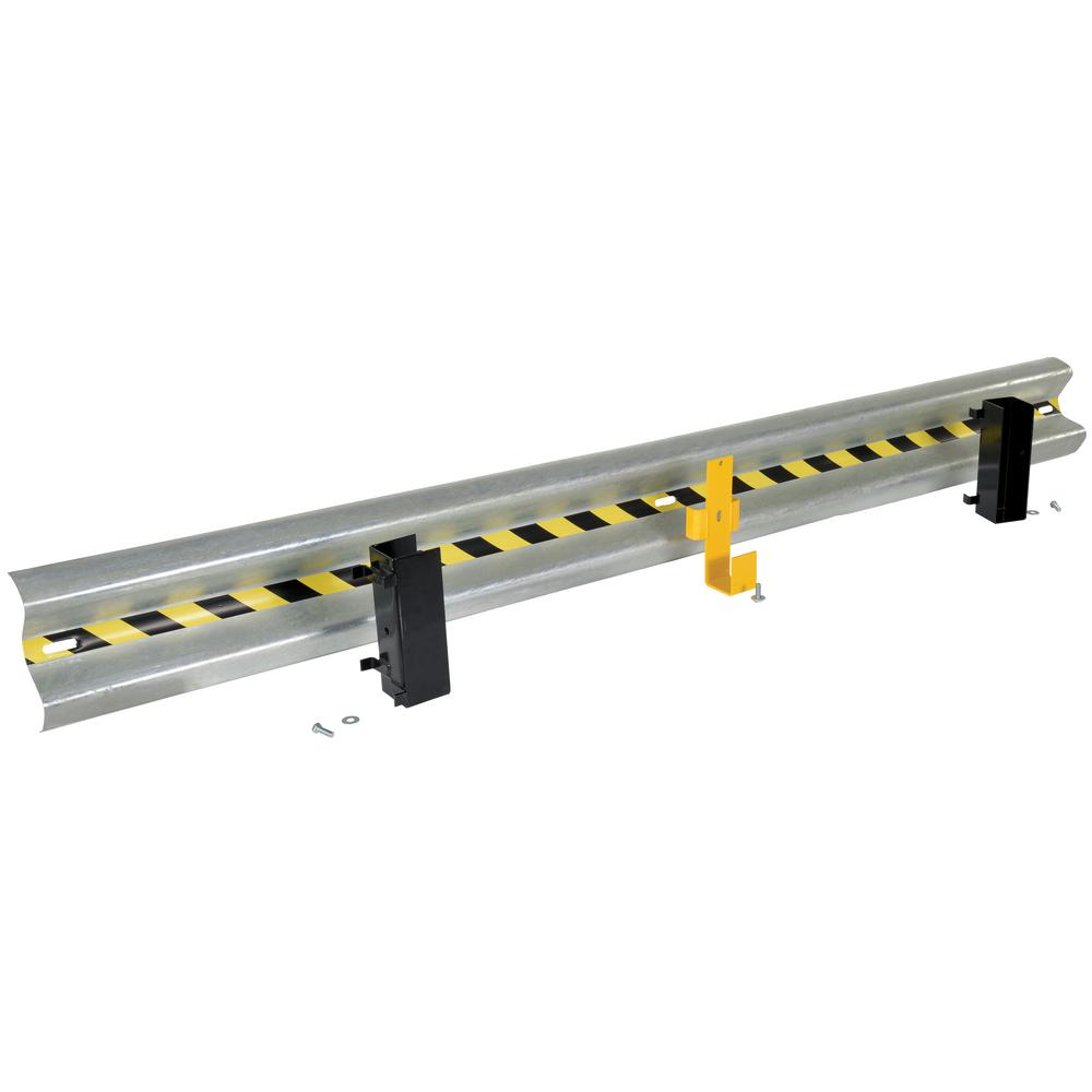 123 in. Galvanized Steel Guard Rail with 2-Drop-in Style Brackets and