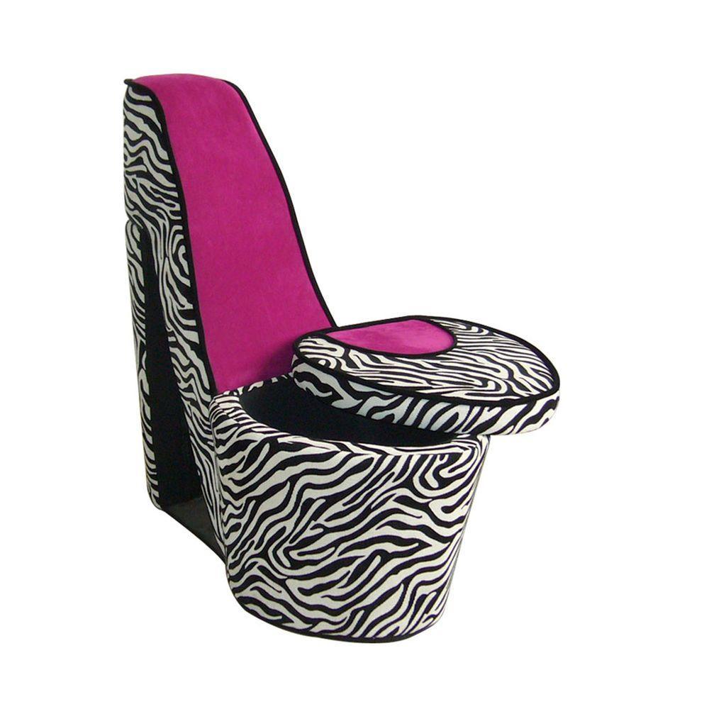 Internet #205004410. ORE International Pink Zebra Storage Slipper Chair