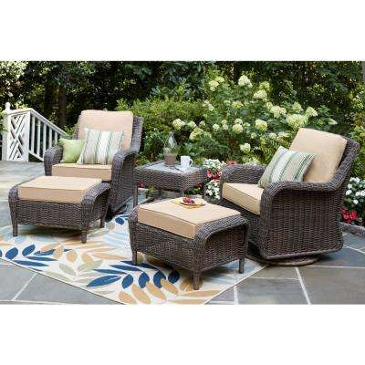 Cambridge Grey Wicker Swivel Outdoor Rocking Chair With Cushions Included Choose Your Own Color