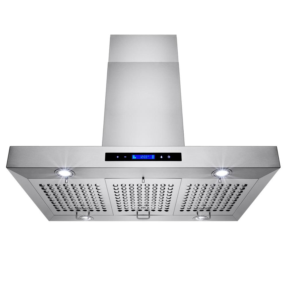 Akdy 36 In Convertible Kitchen Island Mount Range Hood Stainless Steel With Touch Controls