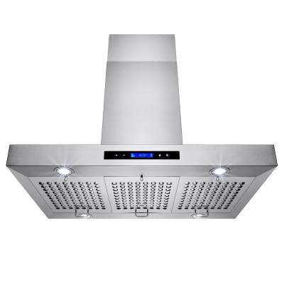 36 in. Convertible Kitchen Island Mount Range Hood in Stainless Steel with Touch Controls