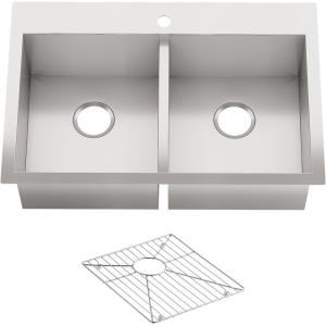 Vault Drop-In/ Dual Mount Stainless Steel 33 in. 1-Hole Double Basin Kitchen Sink