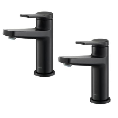 Indy Single Hole Single-Handle Basin Bathroom Faucet in Matte Black (2-Pack)