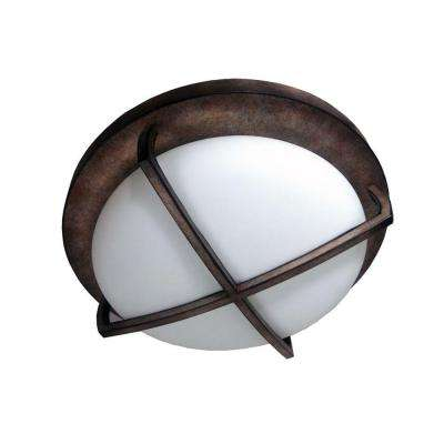 2-Light Burnished Bronze Flushmount