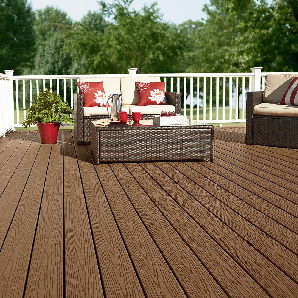 Fiberon Good Life 1 in  x 5-1/4 in  x 1 ft  Cabin Grooved Edge Capped  Composite Decking Board Sample