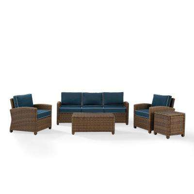 Bradenton 5-Piece Wicker Patio Outdoor Sofa Conversation Set with Navy Cushions