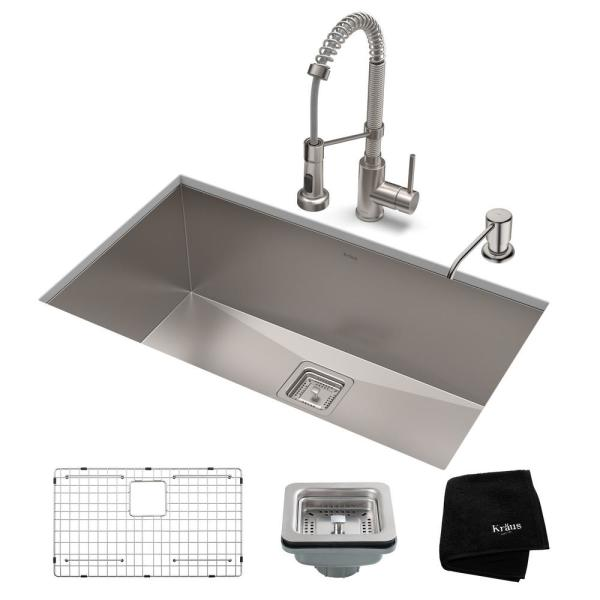 Pax All-in-One Undermount Stainless Steel 28 in. Single Bowl Kitchen Sink with Faucet in Stainless Steel