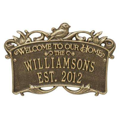 Songbird Welcome Rectangular Standard 2-Line Wall Anniversary Personalized Plaque in Antique Brass