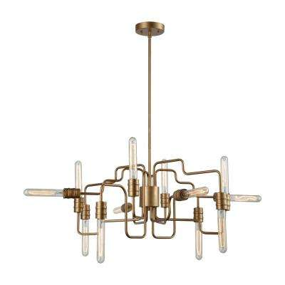 Transit 12-Light Matte Gold Chandelier