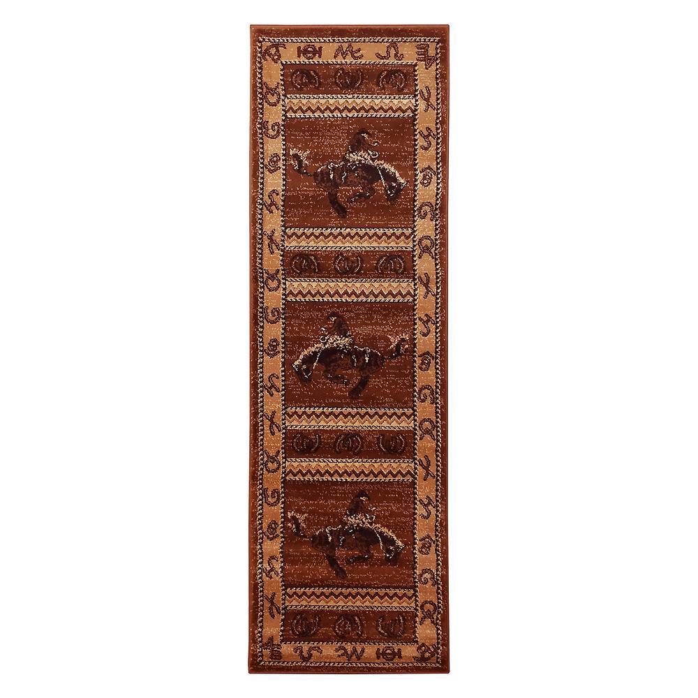 Lodge Design Cowboy Brown 2 ft. 1.5 in. x 7 ft. 0.5 in. Runner
