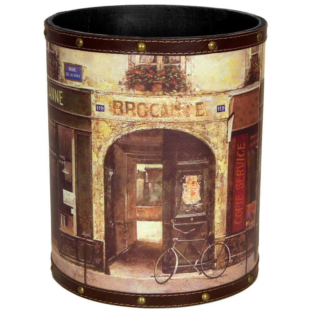 Oriental Furniture 8.25 in. x 10 in. Parisian Cafe Waste Basket