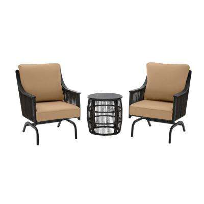 Bayhurst 3-Piece Black Wicker Outdoor Patio Motion Seating Set with CushionGuard Toffee Tan Cushions