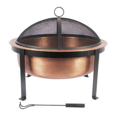 30 in. Round Wood Fire Pit in Hammered Copper