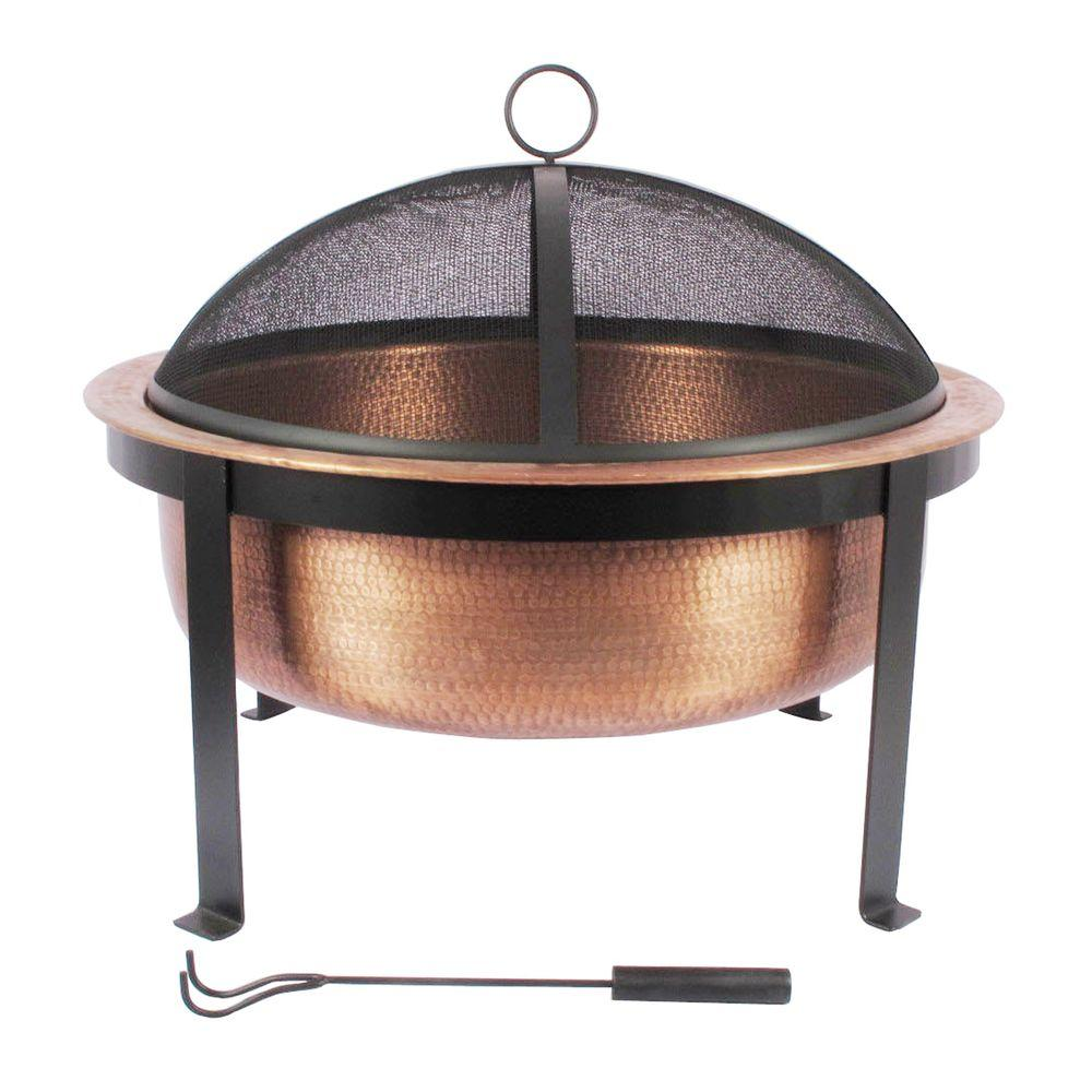 30 In. Round Fire Pit In Hammered Copper-DS-21394
