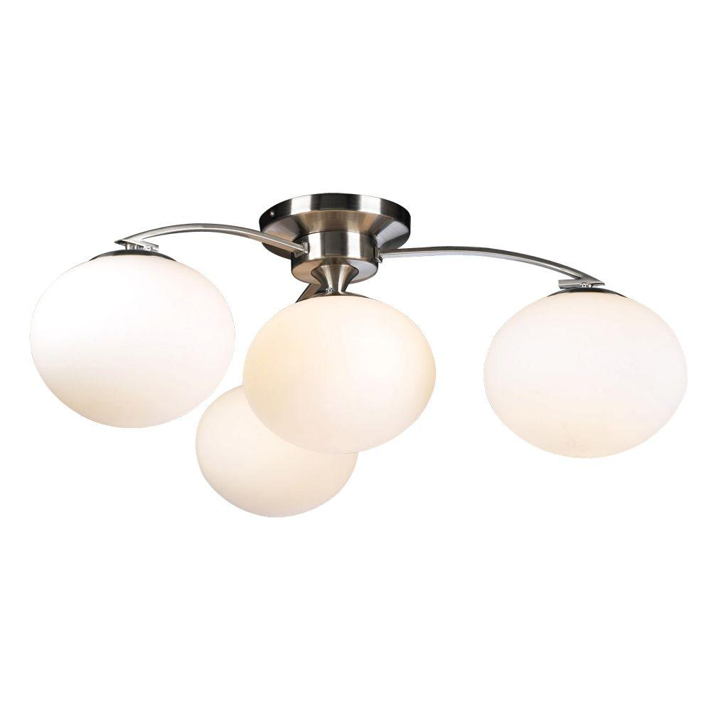 4 Light Satin Nickel Ceiling Semi Flush Mount With Matte Opal Gl