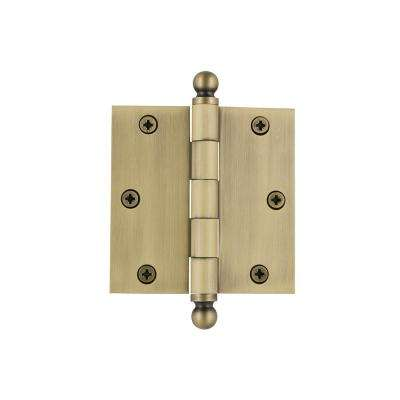 3.5 in. Ball Tip Residential Hinge with Square Corners in Vintage Brass