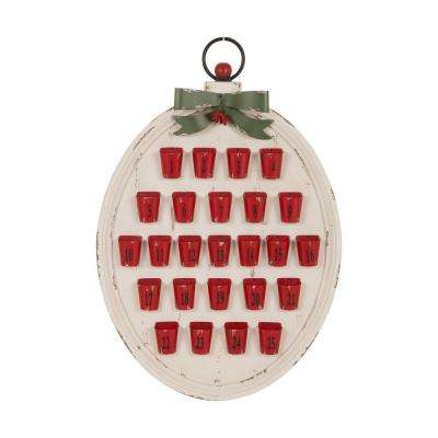 H Countdown to Christmas Wood and Metal Pails Advent Calendar Decor