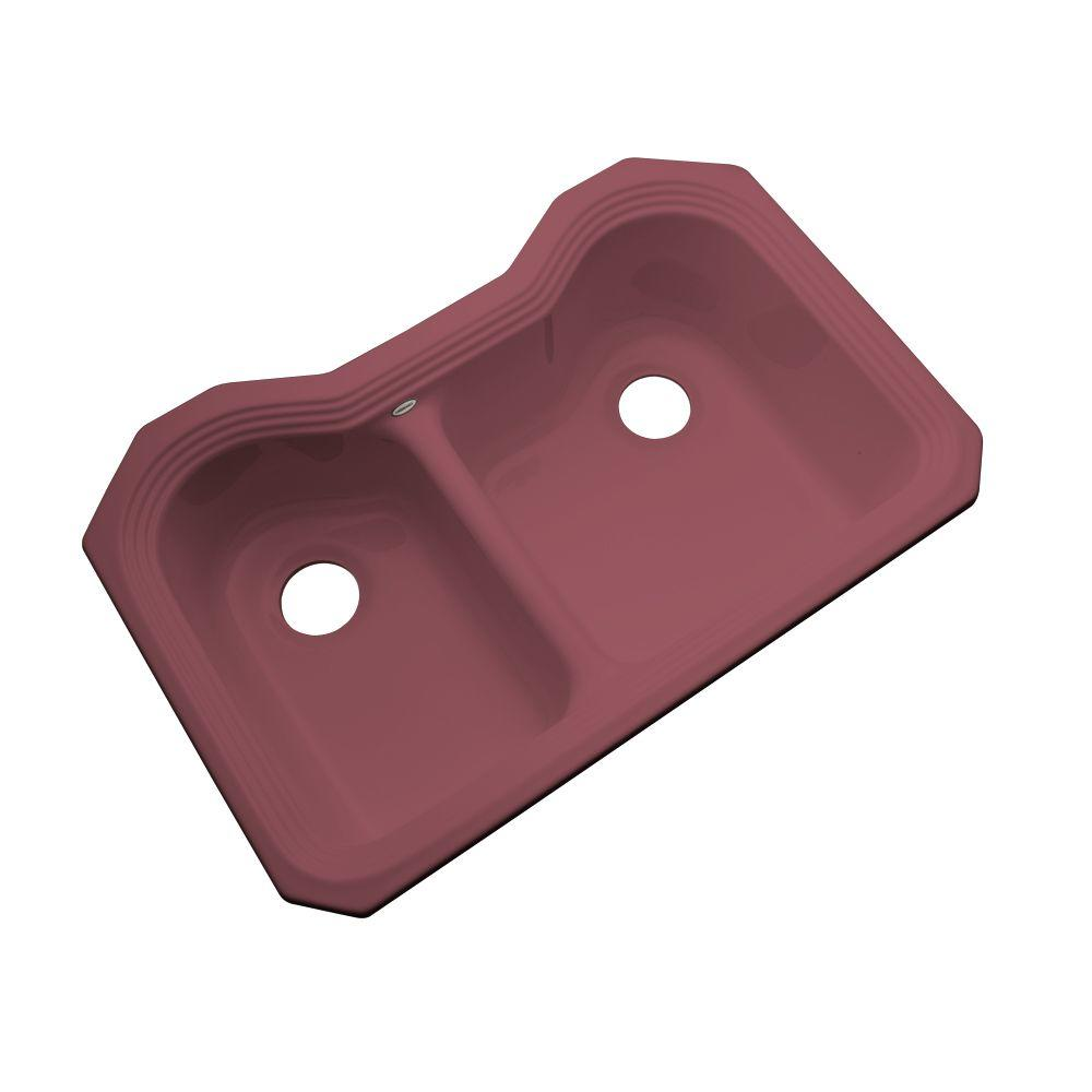 Breckenridge Undermount Acrylic 33 in. Double Bowl Kitchen Sink in Raspberry