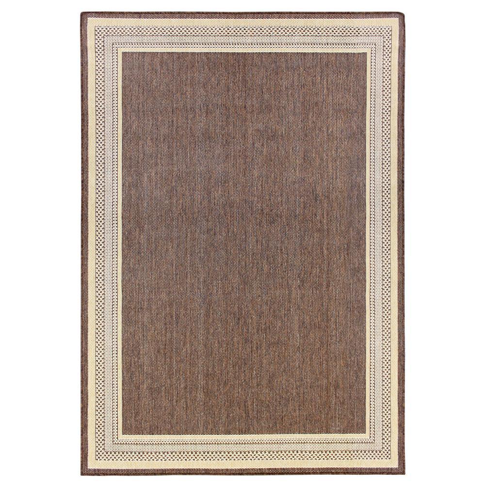 Hampton Bay Border Brown Flat Woven Weave 5 Ft X 7 Indoor