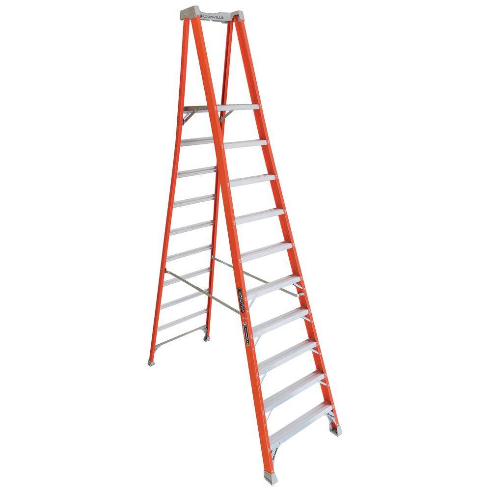 Louisville Ladder 10 ft. Fiberglass Pinnacle Platform Ladder with 300 lbs. Load Capacity Type IA Duty Rating