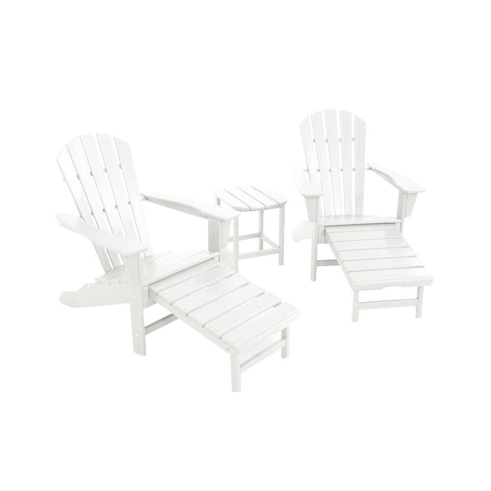 Polywood South Beach Ultimate White 3-Piece Patio Adirond...