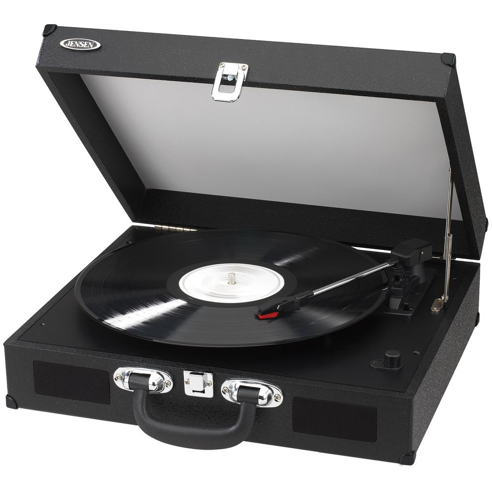 Beau JENSEN Portable 3 Speed Stereo Turntables With Built In Speakers, Black