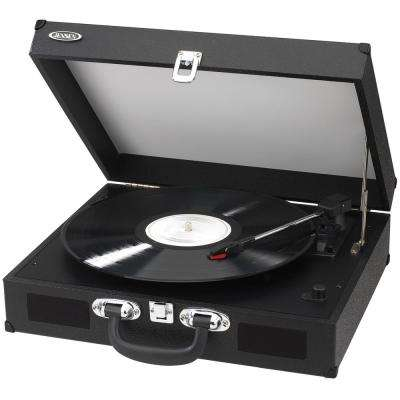 Portable 3-Speed Stereo Turntables with Built-In Speakers, Black