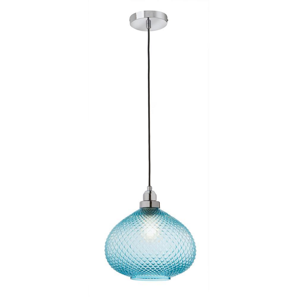 Home Decorators Collection 1-Light Chrome and Blue Glass Mini Pendant