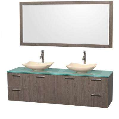 Amare 72 in. Double Vanity in Gray Oak with Glass Vanity Top in Green, Marble Sinks and 70 in. Mirror