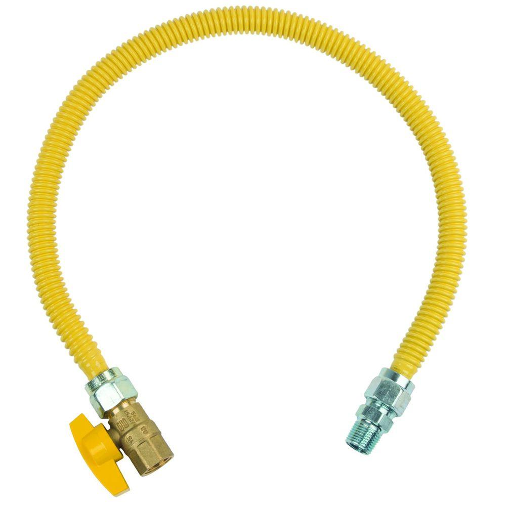 BrassCraft ProCoat 1/2 in. MIP x 1/2 in. FIP Ball Valve x 30 in. Stainless Steel Gas Connector 5/8 in. O.D. (136,000 BTU)