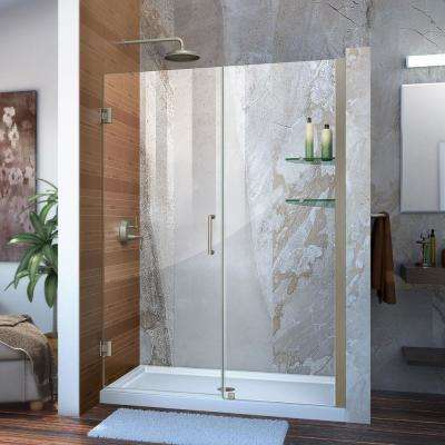 Unidoor 53 to 54 in. x 72 in. Frameless Hinged Shower Door in Brushed Nickel