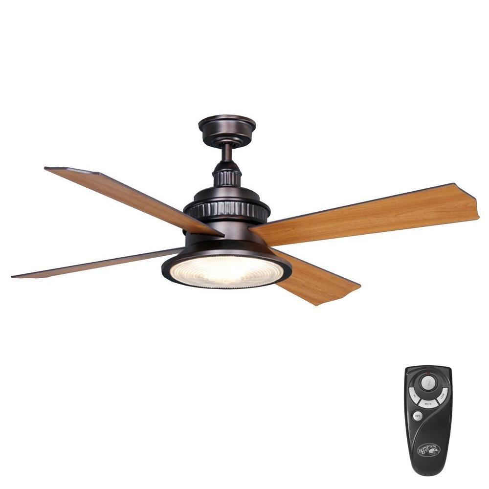 Hampton Bay Valle Paraiso 52 in. Indoor Oil-Rubbed Bronze Ceiling Fan with Light Kit and Remote Control