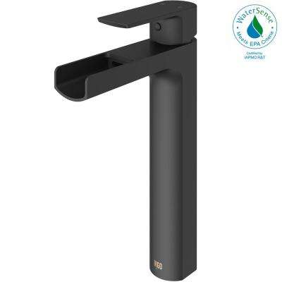 Amada Single Hole Single-Handle Vessel Bathroom Faucet in Matte Black