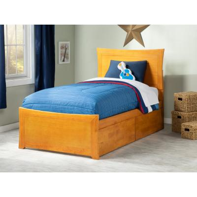 Metro Twin XL Platform Bed with Matching Foot Board with 2 Urban Bed Drawers in Caramel