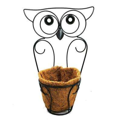 Garden Companions 8 in. x 19 in. Black Steel Owl Planter