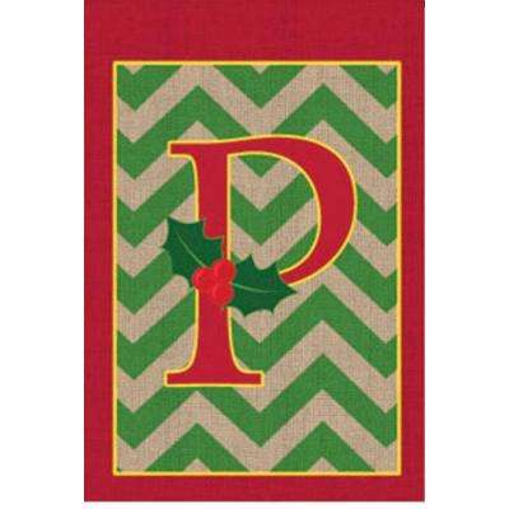 1 ft. x 1.5 ft. Monogrammed P Holly Burlap Garden Flag