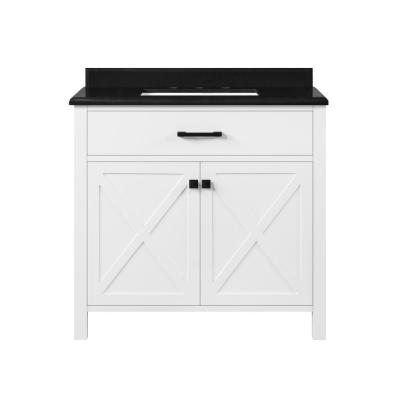 Ainsley 36 in. W x 22 in. D Bath Vanity in White with Granite Vanity Top in Black with White Basin