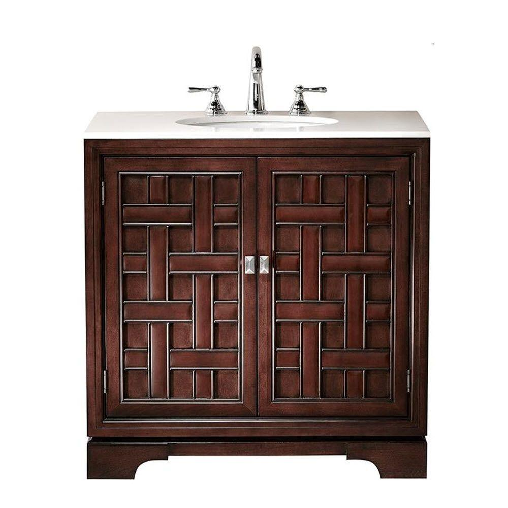 Home Decorators Collection Fairhaven 33 in. Vanity in Dark Walnut with Porcelain Vanity Top in White