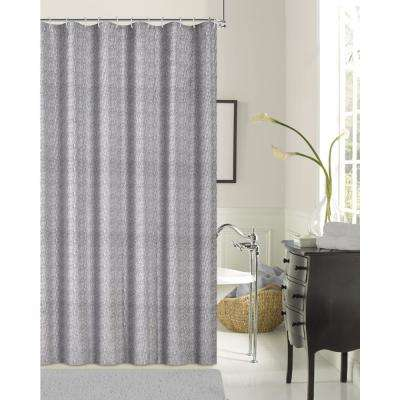 Kingston Silver 70 in. Shrink Yarn Shower Curtain
