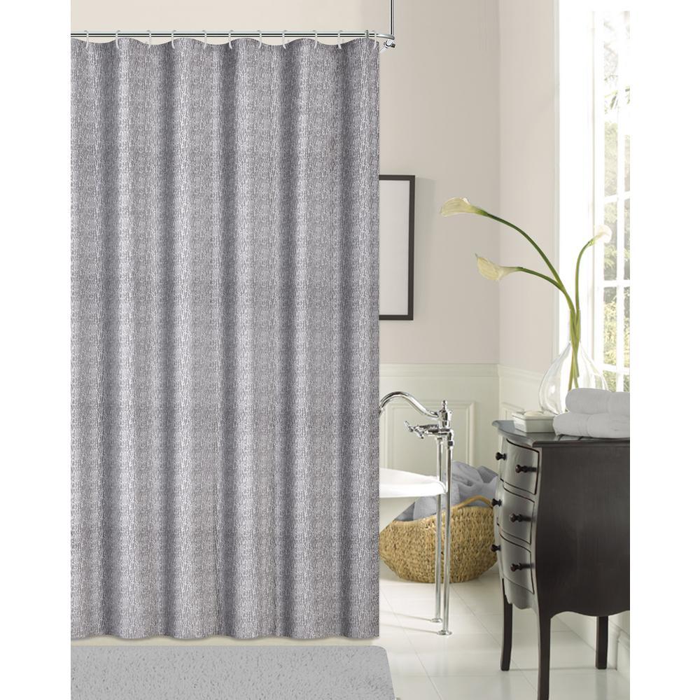 Kingston Silver 70 in. Shrink Yarn Shower Curtain