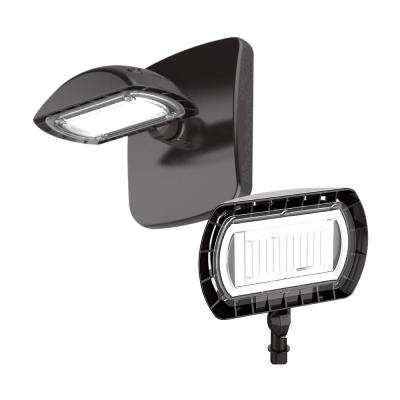 Dark Bronze Outdoor Integrated LED Flood Light with Wall Pack Mount Kit