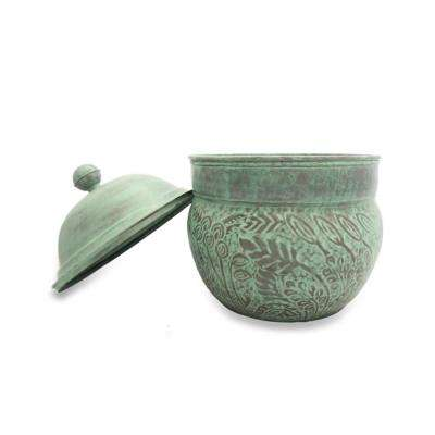 Key West Hose Pot with Lid in Blue Verde