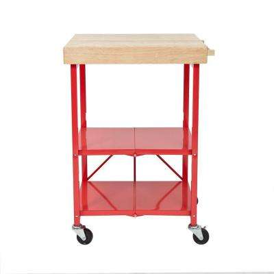 26 in. W Rubber Wood Folding Kitchen Island Cart
