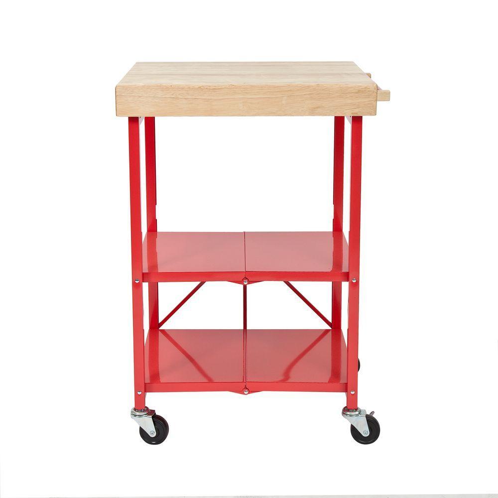 W Rubber Wood Folding Kitchen Island Cart
