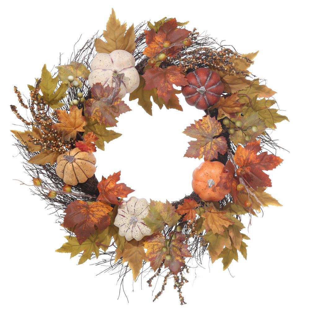 22 in. Unlit Artificial Harvest Wreath with Pumpkins