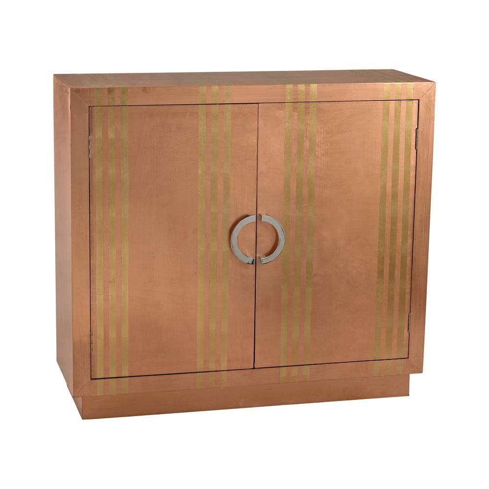 Copper and Gold Stripe Cabinet, Brown/Gold