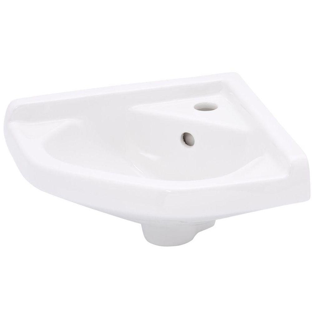Elizabethan Classics English Turn Wall Hung Corner Bathroom Sink in White. Elizabethan Classics English Turn Wall Hung Corner Bathroom Sink