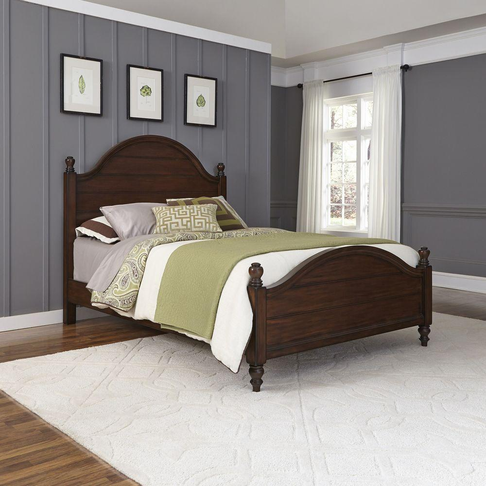 Home styles county comfort aged bourbon king bed frame 5522 600 the home depot - Bed frame styles types ...